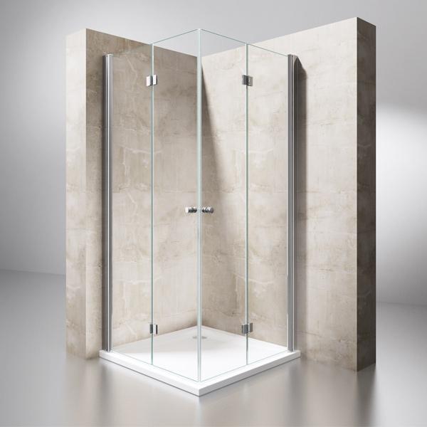 Dusche duschkabine faltt r echtglas duschabtrennung for Luxus shower doors