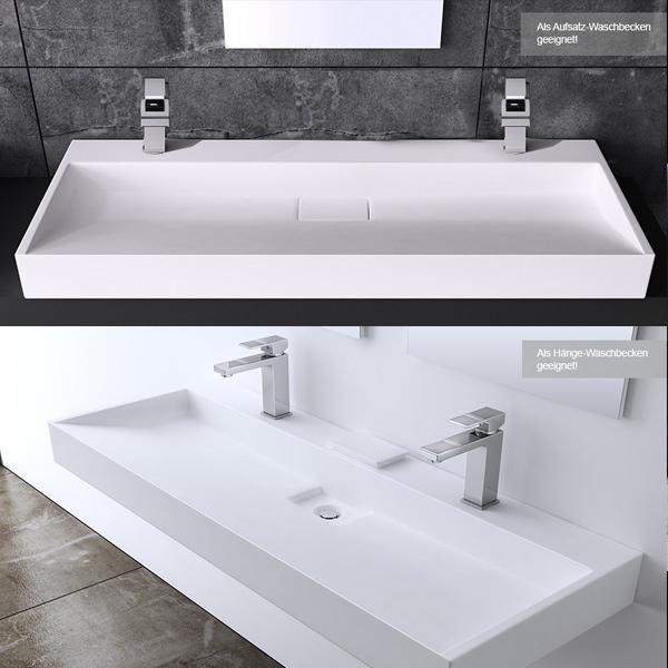 gussmarmor washbecken waschtisch waschplatz colossum19 2 hahnl cher 120x460 cm ebay. Black Bedroom Furniture Sets. Home Design Ideas