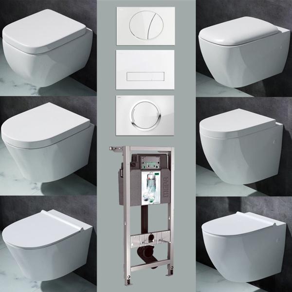 Keramik Vorwandelement Wand WC Hänge-WC Toilette SoftClose ...