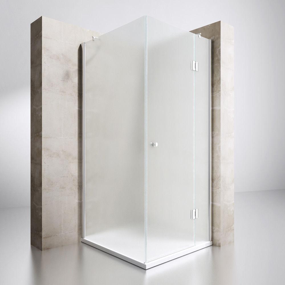 duschkabine dusche eckeinstieg mit nano duschabtrennung 6mm esg milchglas 195cm ebay. Black Bedroom Furniture Sets. Home Design Ideas